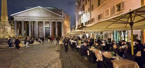 Cena en la plaza del Panteon